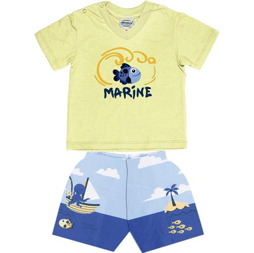 Conjunto Bebê Abrange Peixe Amarelo e Azul BG