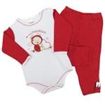 Conjunto Bebê Feminino Body Manga Longa e Calça Branco com Vermelho Joaninha-P