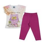 Conjunto Bebê Feminino Verão Blusa Branco e Legging Uva-2