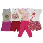 Conjunto Bebê Feminino Verão Kit com 4 Unidades Cinza, Creme, Rosa e Branco-2