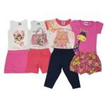 Conjunto Bebê Feminino Verão Kit com 4 Unidades Creme, Cinza, Salmão e Pink-1
