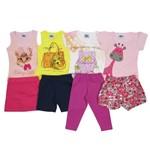 Conjunto Bebê Feminino Verão Kit com 4 Unidades Rosa, Amarelo, Branco e Rosa-1
