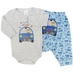 Conjunto Bebê Masculino Body Manga Longa e Calça Bordada no Bumbum Carro