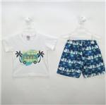 Conjunto Bebê Masculino Verão Camiseta Branca e Bermuda Estampada Coqueiros-1