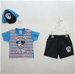 Conjunto Bebê Masculino Verão Camiseta Listrada e Bermuda Jeans com Boné Cachorro-P