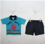 Conjunto Bebê Masculino Verão Camiseta Polo Azul Turquesa e Bermuda Jeans-2