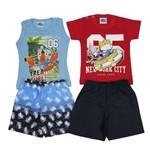 Conjunto Bebê Masculino Verão Kit com 2 Unidades Azul Jeans e Vermelho-M
