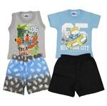 Conjunto Bebê Masculino Verão Kit com 2 Unidades Cinza Mescla e Azul Claro-M