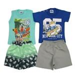 Conjunto Bebê Masculino Verão Kit com 2 Unidades Verde e Azul Royal-M