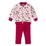 Conjunto Bebê Moletom Feminino Jaqueta Estampada Margaridas e Calça Vermelha Lisa Baby Gijo