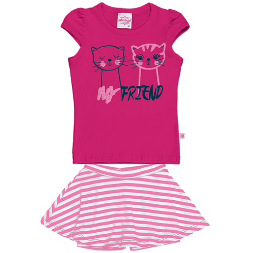 Conjunto Blusa e Saia Shorts Pink/chiclete 11088 0000v3 01