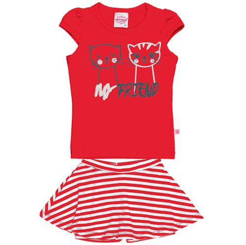 Conjunto Blusa e Saia Shorts Red/red 11088 0000v1 01