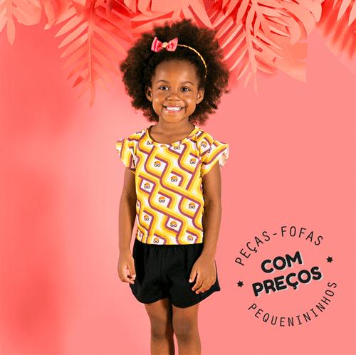 Conjunto Blusa e Short Retrô Doll Conj.vestido e Short Retro Doll Amarelo e Preto/3 e 4