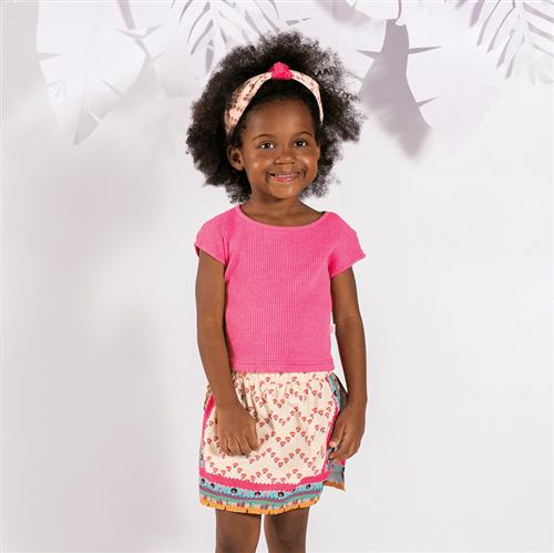 Conjunto Blusa M/c e Short Saia Angola Conj.blusa M/c e Short Saia Angola Pink e Bege/1 e