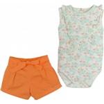Conjunto Body C/ Shorts Bebê Grow Up Menina em Algodão Flamingos