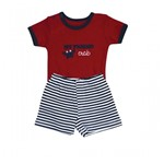 Conjunto Body C/ Shorts Bebê Grow Up Menino em Suedine Crab