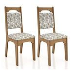 Conjunto 2 Cadeiras Dalla Costa C29 - Freijó/Floral Claro