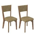 Conjunto 2 Cadeiras Dalla Costa Ca22 Chenille Marrom - Nobre