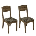 Conjunto 2 Cadeiras Dalla Costa Ca12 Chenille Floral Escuro - Rústico