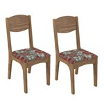Conjunto 2 Cadeiras Dalla Costa Ca12 Chenille Floral Vermelho - Nobre