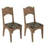 Conjunto 2 Cadeiras Dalla Costa Ca18 Chenille Floral Escuro - Nobre
