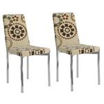 Conjunto 2 Cadeiras Estofadas Carraro 399 Cromadas - Tecido Étnico Sépia