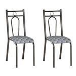 Conjunto 2 Cadeiras Hanumam Cromo Preto e Estampa Capitonê