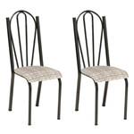 Conjunto 2 Cadeiras Mnemósine Cromo Preto e Estampa Rattan