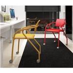 Conjunto 2 Cadeiras para Escritório Carraro - Amarelo Ouro/Vermelho Real