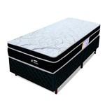 Conjunto Cama Box Solteiro Colchão Molas Ensacadas Pillow Top Wave Dream Preto BF Colchões 88x188x55cm