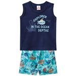 Conjunto Camiseta Meia Malha e Bermuda Microfibra Oceano Brandili