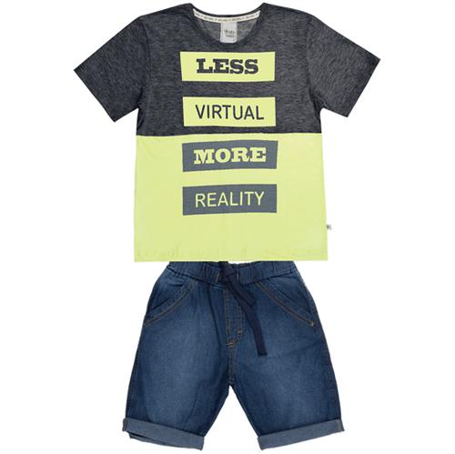 Conjunto Cata-Vento Infantil Less Virtual Mescla Escuro com Amarelo e Jeans Escuro 04