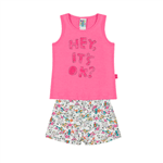Conjunto Chiclete/Rotativo Pink - Primeiros Passos Menina -Cotton/ Sarjas Conjunto Rosa - Primeiros Passos Menina - Cotton/ Sarjas - Ref:33718-132-1