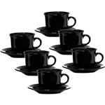 Conjunto com 6 Xícaras de Chá 200ml com Pires - Mail Order Black - Oxford Daily