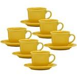 Conjunto com 6 Xícaras de Chá 200ml com Pires - Mail Order Yellow - Oxford Daily