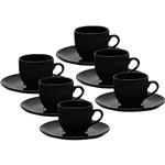 Conjunto com 6 Xícaras de Chá com Pires - Mail Order Coup Black - Oxford