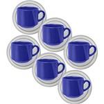 Conjunto com 6 Xícaras de Chá Reta 200ml com Píres Donna Elis - Biona