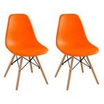 Conjunto com 2 Cadeiras Eames Eiffel Laranja Base Madeira