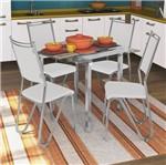 Conjunto com Mesa Cromada Dalila e 4 Cadeiras Cromadas, Branco, Londres