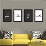 Conjunto Composição Kit 4 Quadros Decorativos 4 Fs Foco, Força, Fé e Foda-Se