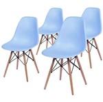 Conjunto de 4 Cadeiras de Jantar Eames Wood Azul ÓR