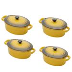Conjunto de 4 Mini Panelas Amarela Ovais de Porcelana, com Tampa - 15cm