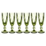 Conjunto de 6 Taças para Champanhe Bico de Abacaxi - Verde -