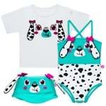 Conjunto de Banho para Bebe Dalmatians: Camiseta + Maiô + Chapéu - Cara de Criança