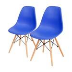Conjunto de 2 Cadeiras de Jantar Eames Wood Azul Escura ÓR