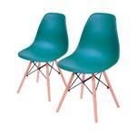 Conjunto de 2 Cadeiras de Jantar Eames Wood Azul Petróleo ÓR