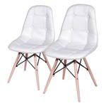 Conjunto de 2 Cadeiras de Jantar Eames Wood Botonê Branca ÓR