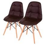 Conjunto de 2 Cadeiras de Jantar Eames Wood Botonê Café ÓR