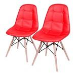 Conjunto de 2 Cadeiras de Jantar Eames Wood Botonê Vermelha ÓR