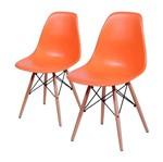 Conjunto de 2 Cadeiras de Jantar Eames Wood Laranja ÓR